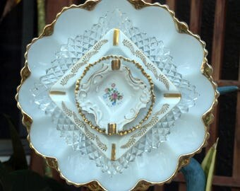 Glass Plate Flower repurpose vintage anchor Hocking egg plate white gold fancy elegant