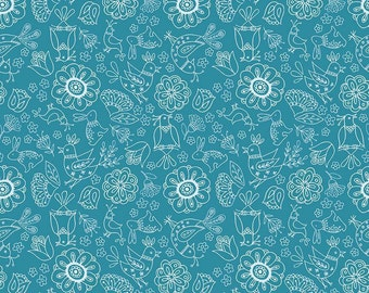 Riley Blake Designs Dutch Treat Dutch Floral Blue Fabric  - 1 yard