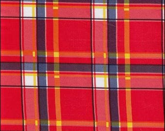 Round Plaid Red and Blue Oilcloth Tablecloth