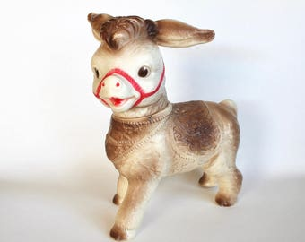 Vintage 1960's Sun Rubber Donkey Doll! Squeaker Works!