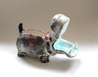 Vintage 1960's Mid Century Modern Ceramic Hippo Figurine! Pink Black and Teal!