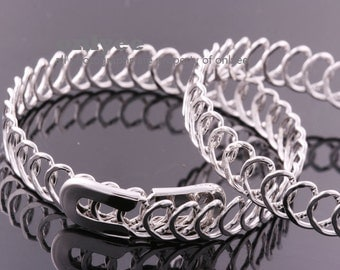 2PCS-10mm Free Size Bright Rhodium Plated Brass Wire Bangles,Chain Bracelet of Deco Bracelet (E372S)