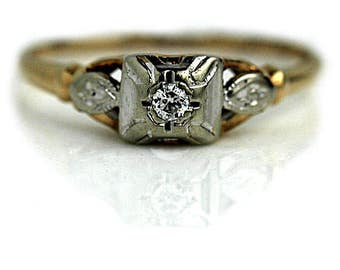 1940's Promise Ring .08ctw Vintage Diamond Ring Antique 14K Two Tone Engagement Ring Transitional Cut Ethical Diamond Ring Unique Ring!