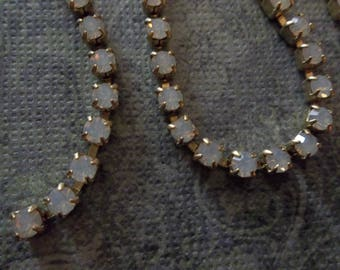 3mm White Opal Rhinestone Chain - Brass Setting - Preciosa Czech Crystals