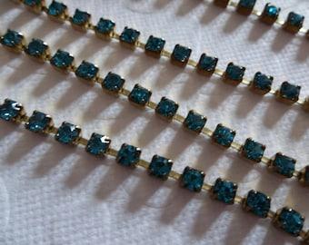 3mm Aqua Blue Rhinestone Chain - Brass Setting - Indicolite Blue Preciosa Czech Crystals