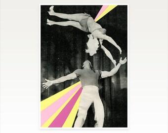 Surreal Collage Art, Mid Century Art, Acrobat Print - Dynamos