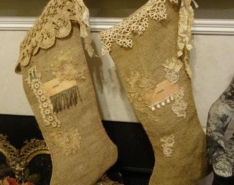 Vintage Pair OOAK Burlap Christmas Stockings