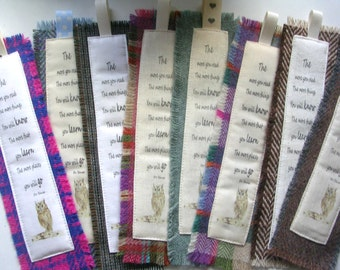 Tweed Fabric Bookmarks with printed sentiment. Unique all year round gift.