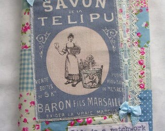 Shabby Chic vintage style cotton patchwork fabric covered notebook, blank journal