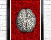 Human Brain Anatomy Art Print Rose Roses Flowers, Human Brain Dictionary Art Print, Brain Wall Decor, Brain Poster, Cool Bedroom Art 021