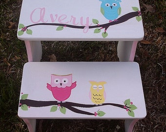 Hooty Owls Step Stools for Girls Bathroom Stools benches for Kids Personalized & Owl step stool | Etsy islam-shia.org