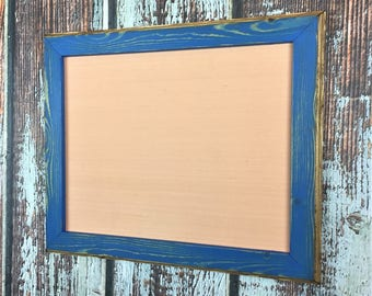 11 x 14 Picture Frame, Blue Rustic Weathered Style With Routed Edges, Home Decor, Rustic Frame, Wooden Frame, Rustic Wood Frame, Rustic Home