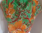 "Rare Vintage Green Orange Floral Hankie Style Soft Silk Scarf  - 36"" Inch 92cm Square"