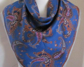 "ECHO // Beautiful Blue Paisley Soft Silk Scarf // 28"" Inch 71cm Square"