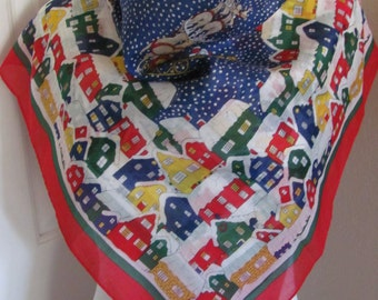 """Ginnie Johansen // Colorful Christmas Cotton Scarf // 27"""" Inch 69cm Square // Best of the Best"""