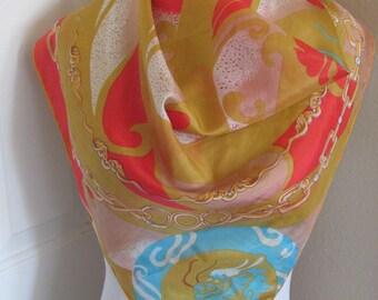 "Beautiful Vintage Orange Colorful Silk Scarf // 29"" Inch 74cm Square"