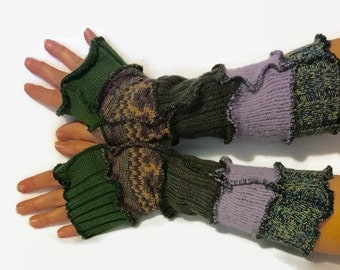Upcycled Fingerless Gloves Green and Pink Armwarmers Recycled Wrist warmers Stripe Gloves Knit Gloves Fingerless Mittens