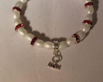 White and Red Rhinestones Mom Strethy Bracelet