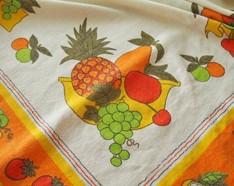 Vintage Tablecloth Colorful Fruits Linen Cotton 49 x 60