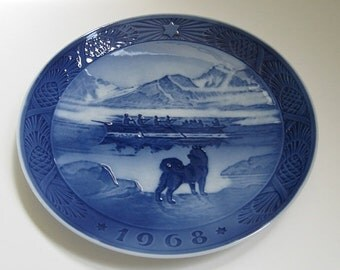 ON SALE Vintage Royal Copenhagen Plate 1968 Denmark Last Umiak Limited Edition Collectible