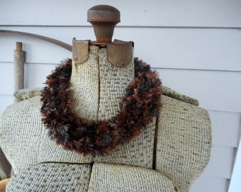 The Sparrow Feathers skinny infinity crochet scarf, bohemian gypsy neck wrap. Scarflette. Shimmery brown earthy festival.