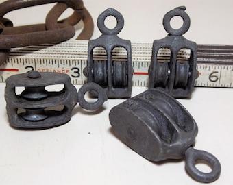 Small Metal Double Wheel Pulley Swivel Eye Hook