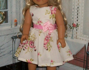 "American 18"" Doll Pink & White Racoon dress and shoes"