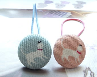 Girl Hair Accessories,Big Hair Tie Button Ponytail Holders-French Style Paris Elegant White Cat Kitty On Blue or Pink (1PCS, Choose Color)