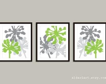 Modern Flower Buds Art Prints - Set of 3 prints - Green and Gray Decor - Modern Flowers Wall Art - Aldari Art