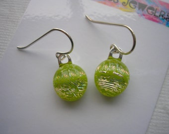 Petite Earrings Dichroic Glass Spring Green Glitter 925 Sterling Silver Petite Fused Kiln Glass Jewelry Lightweight Little Earring Dichronic