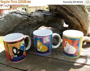 3 Darling Kitty Kat Mugs Circa 1990s Barely Used