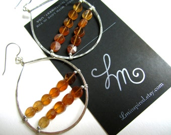 Hessonite Garnet Faceted Double Line Encapsulated Large Sterling Silver Hammered Hoop Statement Earrings by LM-inspired