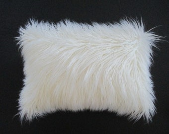 White Fox Faux Fur Lumbar Pillow Cover Zipper