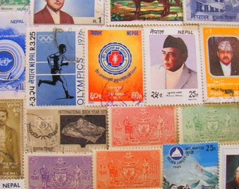 Mt Everest to Kathmandu 50 Vintage Nepalese Postage Stamps Federal Democratic Republic of Nepal Buddhist East Asia Yoga Worldwide Philately