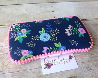 Bright Trendy Watercolor Floral on Blue Travel Baby Wipe Case, Personalized Case, Baby Shower Gift, Wipe Holder, Diaper Bag Wipe Clutch