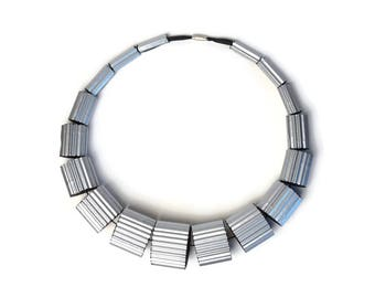 Silver and Black: Necklace LUNA made of Corrugated Cardboard