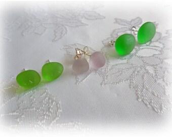 Sea Beach Glass Button Earrings - Sterling Silver