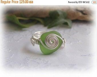 Green Beach Glass Seaglass Ring Size 7