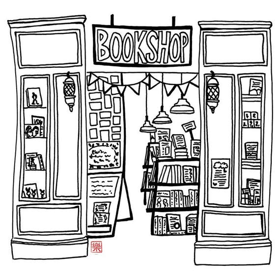 Printable art Melbourne bookshop hand drawn sketch