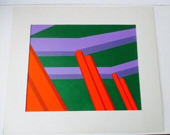 Abstract Geometric Acrylic Painting Hard Edge Style  art    mid century modern  California Artist Megan Perkins