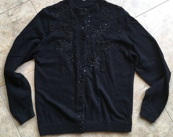 Black Beaded Cardigan Sweater 1950's Rockabilly Wool Medium Large