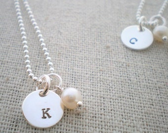 initial necklace | hand stamped sterling silver | tiny token with birthstone | gemstone and initial necklace | push present | mommy jewelry