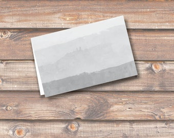 """Gray Watercolor Ombre Place Cards Printable Food Tags Menu Place Cards Wedding Baby Shower Birthday 3.5 x 2.25"""" Tent-Style INSTANT DOWNLOAD"""