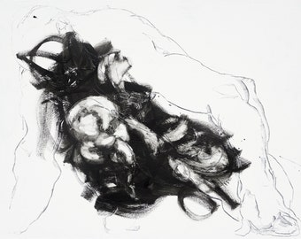 Extra large expressive and powerful abstract figure painting by Derek Overfield - The bastard - gestural - minimal