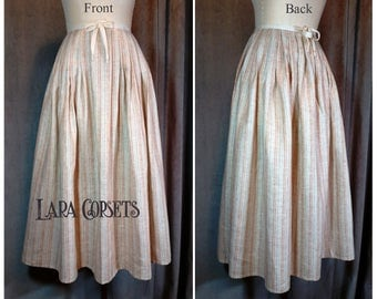 Custom 18th Century Petticoat - Striped Linen