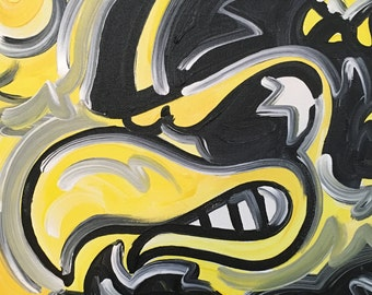 12x12 Officialy Licensed University of Iowa Painting by Justin Patten Herky Hawkeye Sports Art College Baseball Football Basketball