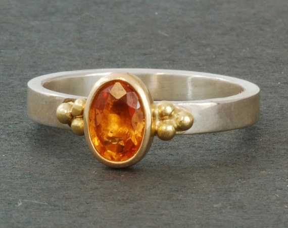 Orange Sapphire Ring   Oval   Sterling Silver   14 karat Yellow Gold   Stacking Ring