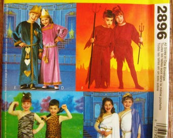 Easy to Sew Childrens Halloween Costumes: Devil, Roman, Tarzan, King, Queen Sizes 3 4 5 6 7 8 McCalls Pattern 2896 UNCUT