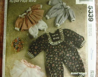 Vintage 1990s Rabbit Doll Wardrobe for 14, 20 and 25 inch Bunny Dolls Faye Wine McCalls Crafts Pattern 5339 UNCUT Country Sewing
