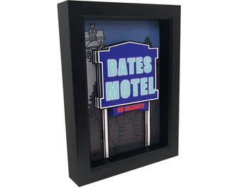 Alfred Hitchcock Psycho Bates Motel Horror Art 3D Art Print Motel Sign Alfred Hitchcock Print Psycho Movie Print